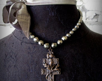St. Joan of Arc Bronze and Pyrite Necklace