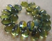 25 Olivine Capri Czech Pressed Glass Teardrop Beads 6mm x 9mm