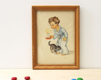 Bedtime Boy. Framed 1950s print featuring a child and cat.