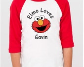 Elmo Shirt - Elmo Loves Me Raglan Kid Shirt