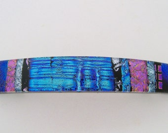 Extra Large dichroic glass hair barrette.