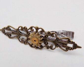 Steampunk tie pin. Steampunk jewelry tie clip. Steampunk tie bar.