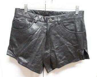 VINTAGE Bagazio Black leather hot pants, mini shorts, biker babe, 32