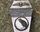 Small Vintage Gothic Paper Mache Coffin Box Vampire Dracula Victorian Steampunk with Crow Raven