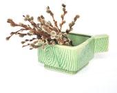japan ceramic planter pottery green faux woodgrain square low japanese pot for plants