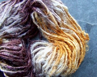 Recycled Silk Sari Yarn-Ombre-Yellow & Brown-Silk-Sari Yarn-Multicolored Silk-Mixed Media Fiber-Tye Dye-Sari Silk Fiber Yarn-4 Yards