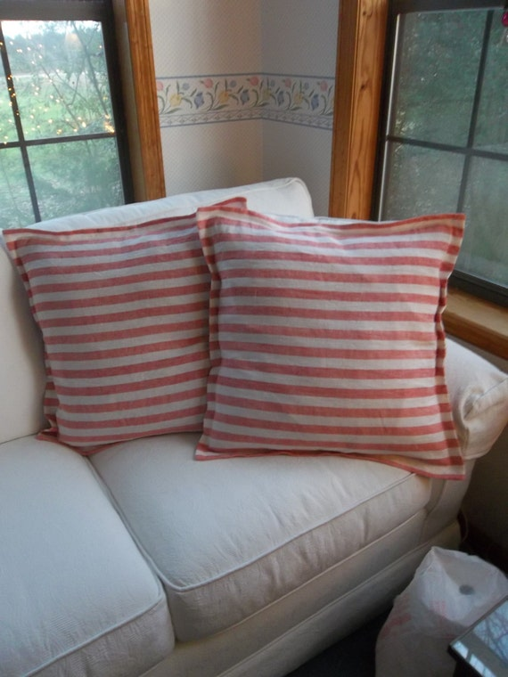 Pair Red Stripe Linen Pillows READY to SHIP Red Linen Pillows Porch Decor Nautical Decor French Country Classic Tailored Linen Pillows