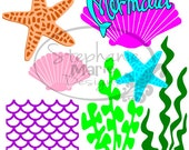 Mermaid Collection-SVG Cut File for use with Silhouette Studio Design Edition,Cricut Design Space and others