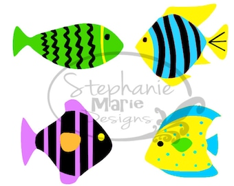 Tropical Fish-SVG Cut File-Use with Silhouette Studio Design Edition,Cricut Design Space and others