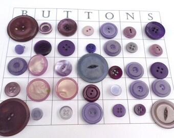 35 PURPLE VINTAGE Buttons