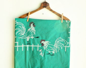 Vintage Rooster Cross Stitch Rectangle Tablecloth - Luncheon - Chicken - Kelly Green - farm