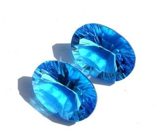 55% OFF SALE 2Pcs 1 Match Pair AAA Swiss Blue Quartz Concave Cut Oval Briolette Size 20x15mm Concave Cut Gems (Choose The Drill Hole)