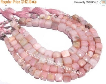 55% OFF SALE Full 8 Inches - 5 - 9mm Finest Quality Pink Peruvian Opal Faceted 3D Cubes Briolettes