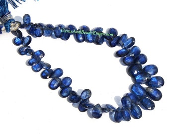 1/2 Strand - Rare Finest Quality Natural Deep Inky Blue Kyanite Faceted Pear Briolettes Size 6x4 - 10x6mm - Gemstone Briolette 01