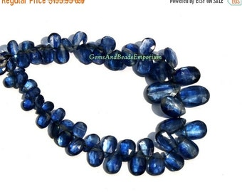 55% OFF SALE 1/2 Strand - Rare Finest Quality Natural Deep Inky Blue Kyanite Faceted Pear Briolettes Size 5x3 - 12x8mm - Gemstone Briolette