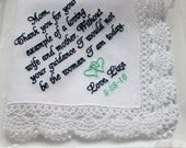 Personalized Mother of the Bride Wedding Handkerchief, Mother Hankie,  MOB hanky
