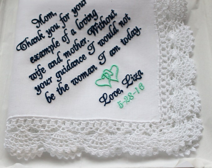 Mother of the Bride Gift, Embroidered Mother of the Bride Wedding Handkerchief, Custom Handkerchiefs, Gifts for Mom, Wedding Hankies,
