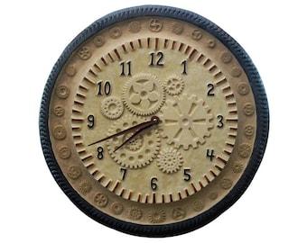 "Gears Ceramic Wall Clock in Cream Stone & Rust Glazes (15"" diameter)"