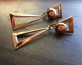 Mid Century Modern Copper earrings-Posts
