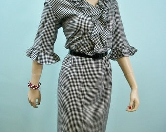 60s Gingham Dress . Vintage 1960s Black & White Ruffled Bodice Dress . New without Tags . M L