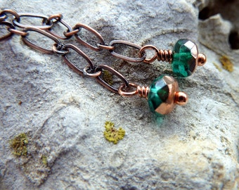 Teal & Copper Elven Earrings Oxidized Copper Chain Jewelry Gorgeous Czech Glass and Warm Solid Copper Earrings Long Swinging Chain Earrings