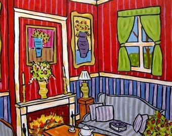 ON SALE The Fireplace Art Print Interior Design 11x14