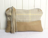 Taupe Beige Genuine Leather with Tweed and Handcut Leather Tassel Clutch Zipper Bag