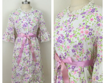 60s Lorraine White Pink Purple Floral Bell Sleeve Robe or Dress, Size M