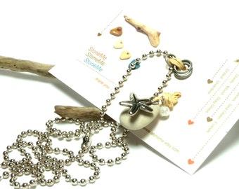 DIY Stone Jewelry Making Kit Pebble Chain Jump Rings Set Organic Gift Pack StoneMe Original CREATE AWAY