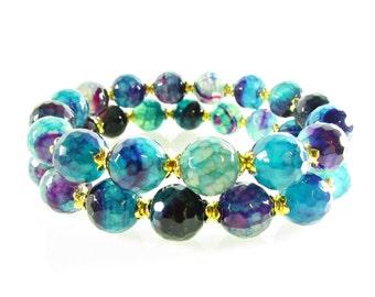 Agate Stretch Bracelet, Bracelet Set, Purple & Blue Agate Bracelet, Agate Gemstone Jewelry