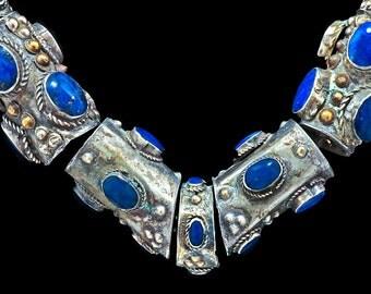 Rare Antique Turkmeni Lapis & Silver Necklace
