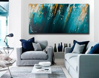 """Modern Wall Art Original acrylic Abstract Wall Art Free Flow Impasto painting home office decor Turquoise """"April Shower"""" by QiQiGallery"""