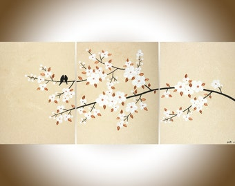 Copper painting copper wall art copper home decor Acrylic Painting white flowers canvas art wall hanging shabby chic wedding gift by qiqi