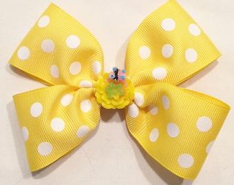 Girls Hair Bow Yellow Polka Dot Bow