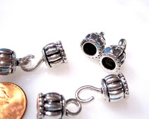 6 Hook and Eye Clasps, Antique Silver kumihimo clasps 30x10mm (hooked) 7mm I.D. CL1002 A16