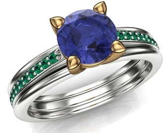 Tanzanite and Emerald Ring in Two Tone 18k Yellow and 14k White Gold