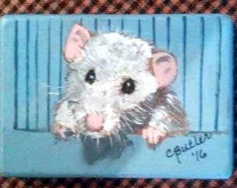 White Rat magnet, 21/2 x 3 1/2 small portrait , aceo magnet , art trading card,small art,rat ,collectible art,rat portrait