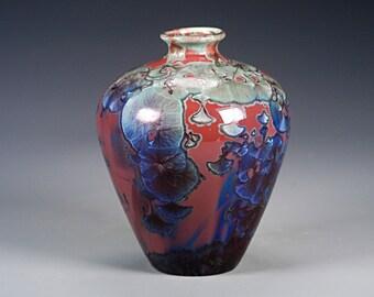 Porcelain Vase - Red, Green, Blue - Crystaline Glaze - Hand Made Ceramics - FREE SHIPPING - #B-5339