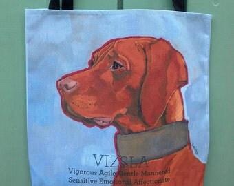 Vizsla canvas tote bag, heavy duty, custom option with dog's name, vizsla beach bag, vizsla art personal tote shoulder bag dog portrait