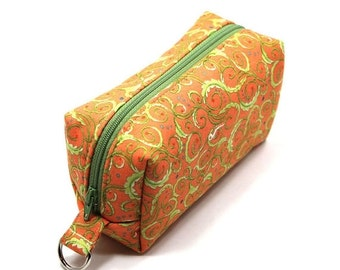 February Pouch Sale Small Zipper Box Pouch Project or Travel Case Orange with Lime Green Swirls