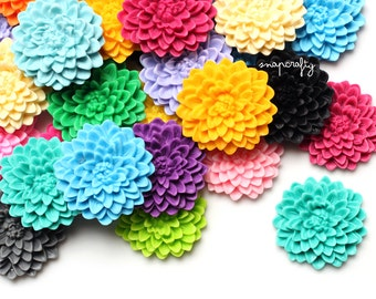 SALE 20pc imperfect chrysanthemum flower cabochons / B grade resin cabs w slight imperfections / large round 32mm / mixed assorted colors