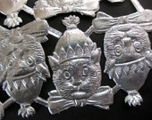 Silver Embossed Cats with Party Hats, German Dresden Die cuts , 8