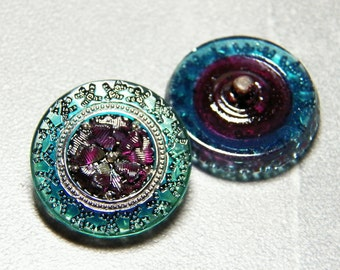 Aqua and Dark Rose 23mm Glass Round Button with Metal Shank (1)