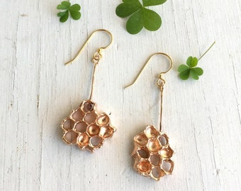 Honeycomb Earrings, Dangle Earrings, Honeycomb jewelry, Drop Earrings, Bronze Beehive earrings, Honey Gold jewelry, Handmade in Austin Texas