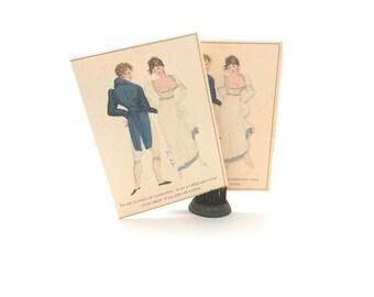 Jane Austen Note Cards, Set of Six Note Cards, Regency Dance, Jane Austen Regency Gifts, Thank You Note Card, Jane Austen Bridal Shower Gift