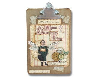 Fairy Assemblage Collage, Boy Fairy,  Leprechaun, Paper Collage, Mixed Media Fantasy Art, Puck, Elf Faerie, One of a Kind,