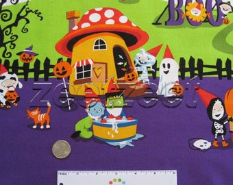 1.75 Yds Michael Miller NIGHTMARE In GNOMEVILLE Border with Purple Candy Corn Quilt Fabric - Gnome Gnomes Halloween Costumes Pumpkin