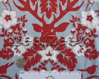 DEER ANTLER Damask SKY Blue Red Rare - Cotton Quilt Fabric by the Yard, Half Yard, or Fat Quarter - Joel Dewberry Free Spirit Deer Valley