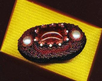 Burgundy Garnet Glass Brooch . Red Wine Brooch . Genuine Pearl Brooch . Beaded Beadwoven OOAK Boat - Mystery Brooch by enchantedbeas on Etsy
