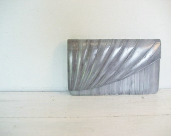 Vintage Large Gray Eel Skin Clutch Style Purse